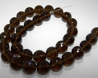 Smoky Quartz 12mm faceted rounds - 16 inch strand