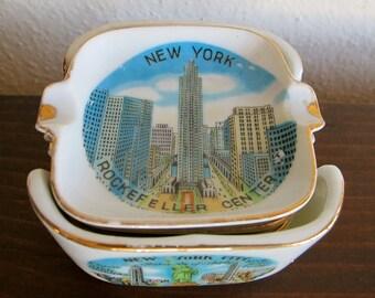 Vintage New York City Ashtrays - Stackable Porcelain Set
