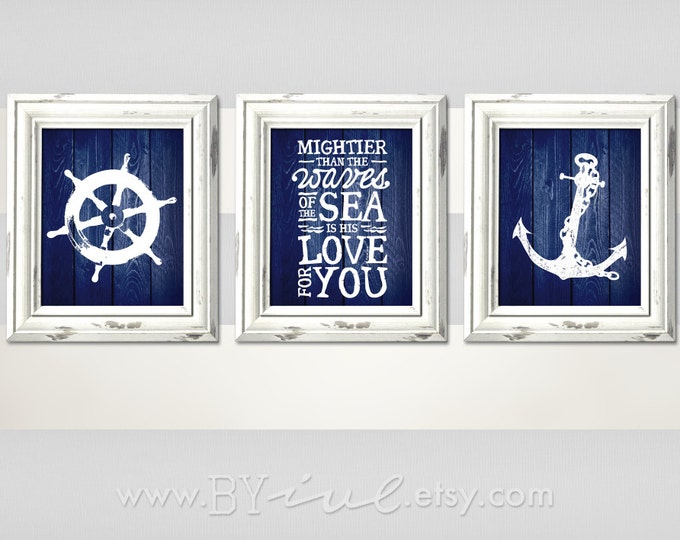 Nursery Nautical theme, Ship wheel, Psalm 93:4, Anchor, Sailor Theme, Navy blue, Beach Decor, Downloadable. Print it yourself.