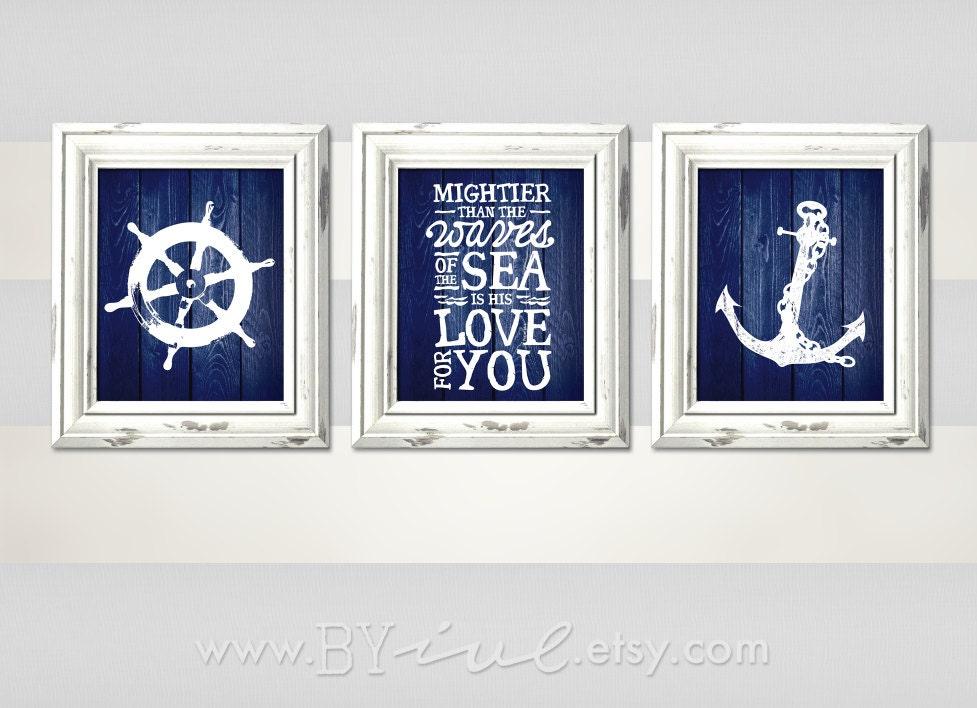 Nursery nautical theme ship wheel psalm 93 4 anchor sailor for Where can i buy nautical decor