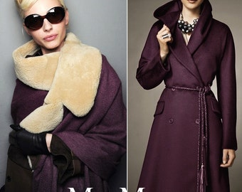 "Fabulous dark Violet Cashmere Wool Fabric 2016 Fall/Winter - 59"" width 600g - beautiful fashion wool fabric for winter coat - 1 yard"