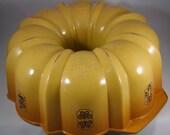 "Vintage 12 Cup Bundt Pan Nordic Ware ""Best"" Bundt Fluted Tube Pan USA Harvest Gold with Decorations"