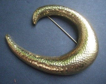 Stylish Large Scale Hammered Gilt Metal Brooch by Monet