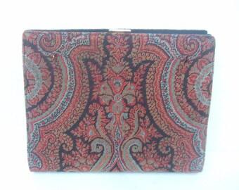 Unique Paisley Cloth Versatile Clutch Bag c 1970