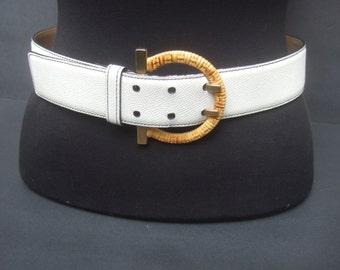 Salvatore Ferragamo White Leather Wicker Buckle Belt