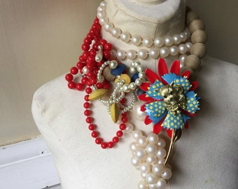 Holiday Flower Cluster Flapper Dog Pearl Statement Necklace Red Blue Yellow Cream Jewelry by ZILLAS QUEEN