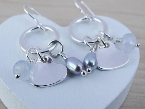 Silver Heart Earrings With Gemstone & Pearl - Sterling Silver