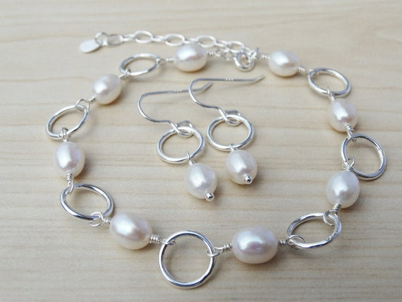 Pearl & Silver Link Bracelet With Matching Earrings - Sterling Silver