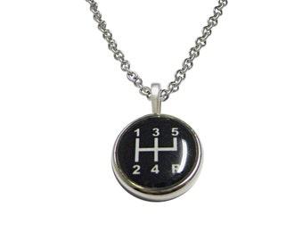 Black Gear Shift Pendant Necklace
