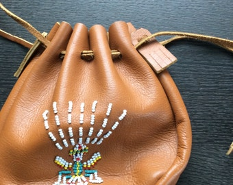 Native American style Beaded Leather Bag