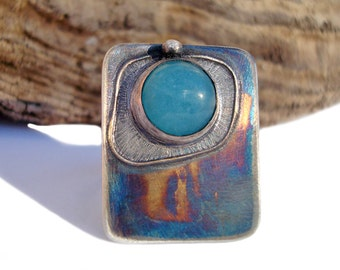 Silver Ring.  Large, Modern Ring. Sky-Blue Natural Quartz Ring. Rainbow Oxide Layer. Adjustable Ring. Artistic Soul.