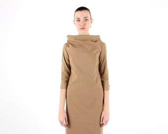 90s Nude Flesh Minimal MARGIELA STYLE Sci Fi Futuristic Sculpted Silhouette Bandage / Bodycon Midi Party Cocktail Dress