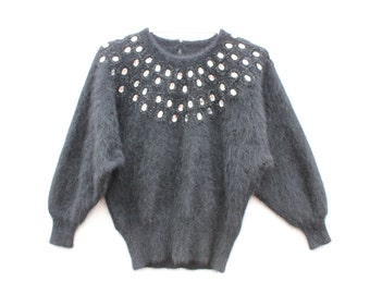 80s Softest ANGORA + GEMSTONE Cocoon Batwing Black Knit Cropped Sweater