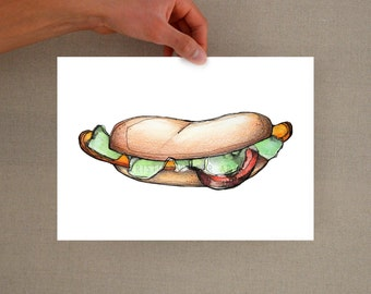 Hotdog art print -Food illustration, hotdog print, hotdog digital print, food art, watercolor print, hotdog art print, food wall art, print