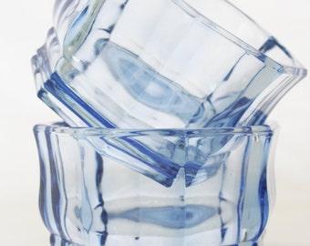 Vintage Powder Blue Glass Bowls Set of Two