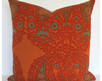 "Cushion Cover Vintage Jyoti Bhomik Fabric 18"" x 18"" Orange Throw Pillow Hippe Boho"