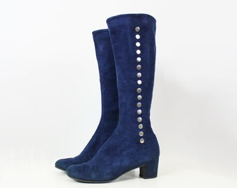 vintage 60s mod boots / 1960s blue suede boots / silver metal studded boots / knee high fall boots / go go boots / size 9 boots