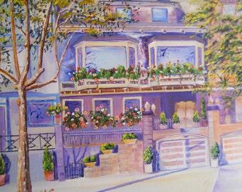San Francisco Homes, Home Portrait, Castro and DuBoce, Original Oil Commission, Purple Grey Peach,  Dan Leasure
