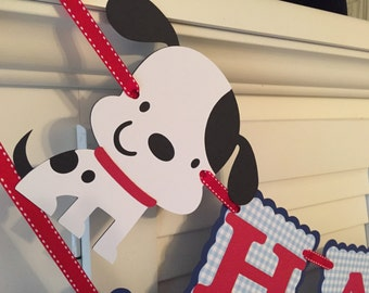 Puppy Birthday Banner/ Red/ White/ Navy/ Light Blue Gingham/ Puppy Party/ Puppy Banner/ Dog Party Banner/ Custom Birthday Banner