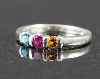 Sterling Mother's Ring - Triple Birthstone Ring - Size 6 - Ready to Ship