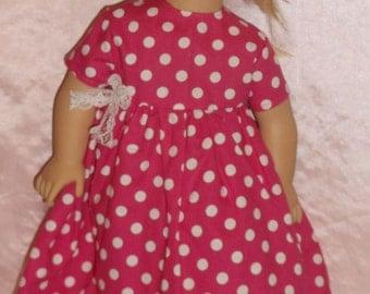 "18"" Doll dress, velcro back, pink polka dot"