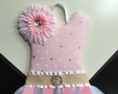 Tutu Bow Holder Pink Gold White Polka Dot Nursery Hair Bow Holder