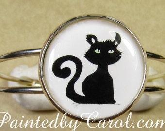 Black Cat Bracelet, Halloween Cuff Bracelet, Black Cat Jewelry, Halloween Jewelry, Black Cat Gifts, Halloween Gifts, Black Cat Cuff