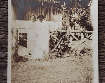 Original Antique Photograph At the Edge of the Garden