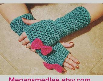 Teal Fingerless Gloves crochet