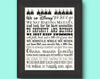 Disney Family Rules 11 by 14 Typography - NEW ITEM SALE!