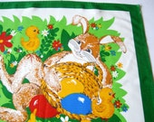 Lovely German Vintage Easter Printed Tablecloth with Bunny and Chicks made in the DDR