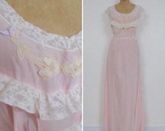 Pretty pink long lingerie gown-size L