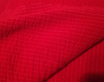 Red Smocked Stretchy Cotton Fabric F54