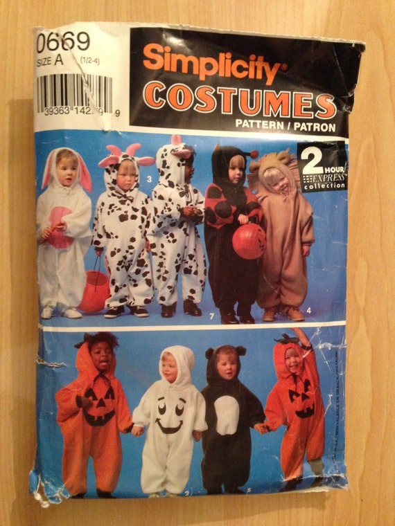 Vintage 90s Simplicity Sewing Pattern 5940 Toddler's Bunny, Cow, Lady Bug, Lion, Pumpkin, Ghost and Bear Costume Size 1/2 - 4