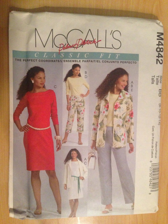 McCalls Sewing Pattern 4842 UNCUT Misses Unlined Jacket, Top, Dress and Pants in Two Lengths Size 8-14