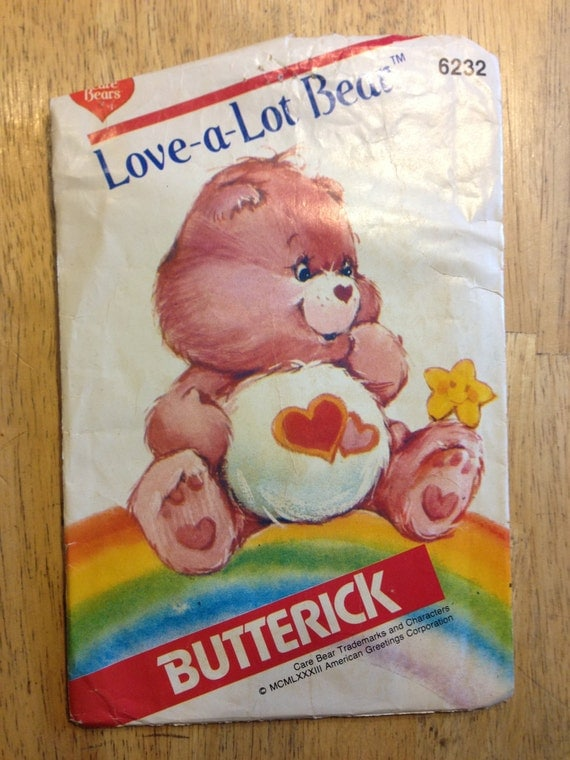 Butterick 6232 Sewing Pattern 80s Stuffed Toy Care Bears Love A Lot Bear