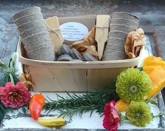 Garden Gift Set, Heirloom Vegetable Seeds, Flower Seeds, Seed Starting Supplies in Gift Basket, Great Gift for Gardener or Hostess Gift