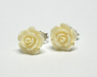 Tiny Ivory Rose Earrings - Flower Earrings - Silver Stud Earrings - Spring Inspired Jewelry
