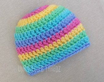 Crochet Rainbow Baby Hat, Rainbow Newborn Hat, Photo Prop Hat
