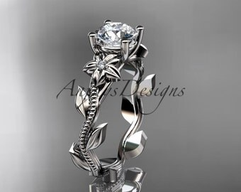 Unique 14kt  white gold diamond floral wedding ring, engagement ring ADLR238