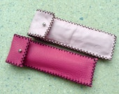 Handstitched soft leather pen holder pencil case in bright/pale pink