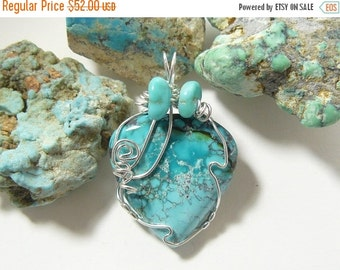 Natural Turquoise Designer Cabochon Wire Wrapped in Argentium silver wire. (w3461)