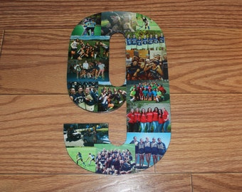 """Personalized Number, Personalized Gift, Home Decor, Wall Hanging Photo Collage, 13"""" Wooden Number"""