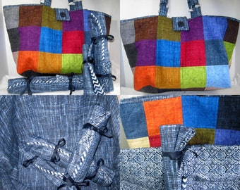 Yarn Project Craft Tote Set Faux Burlap Quilted Fabric with Needle Rolls,  Knittng Crochet Large Bag with Roll Ups