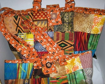 Knitting Crochet Yarn Tote Set with Needle Rolls, Ethnic African Tribal Fabric Quilted Craft Tote