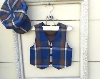Boys Plaid Blue boys vest and hat ,vest for boys, ring bearer vest, photo prop for boys