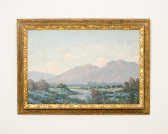 Antique Listed California Artist Joseph Frey Signed Framed Oil Landscape Painting - Early 20th Century
