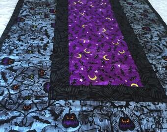 Purple Bats Halloween Table Runner Quilt - Black - Purple -