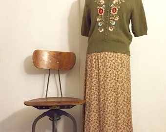 Vintage Studio Light Brown Maxi Skirt - Small Floral Print