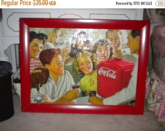 SUMMER SALE REDUCED.....Awesome Retro Coca Cola Chippy Frame Puzzle, Retro decor, Retro Kitchen, Nostalgia, Coca cola collector